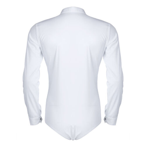Men Long Sleeve Ballroom Latin Modern Dance Zip Shirts One-piece Romper Bodysuit