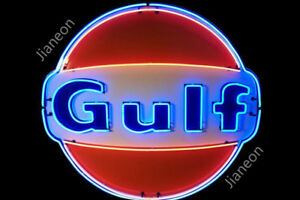 New-Old-Gulf-Dealer-Gas-amp-Oil-Lighted-Backing-Real-Glass-Neon-Sign-Beer-Light