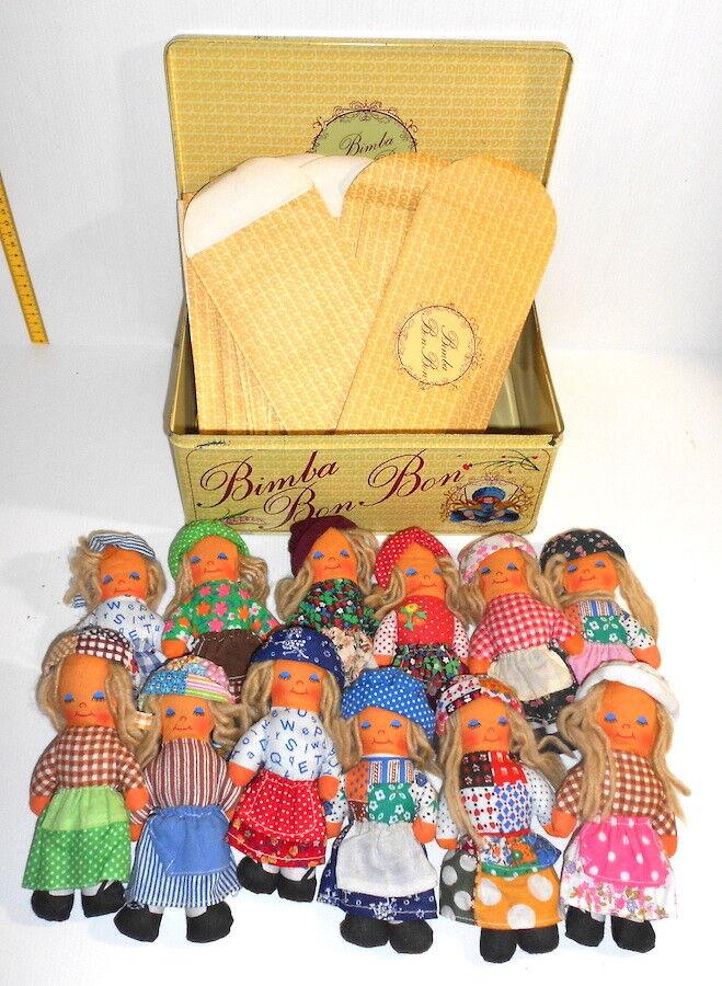 BIMBA BON BON 1979 Gig  tin box with 12 ragdolls - scatola latta 12 bambole