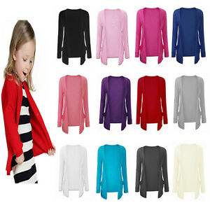 Girls Kids Long Sleeve Boyfriend Cardigan School TOP Open Pocket Age 7-13YEARS