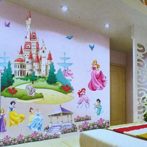 Large Princess Castle Wall Sticker Princess Animals Wall Decal Girls Room Decor