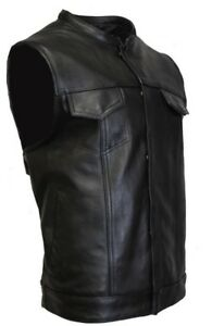 SOA-Vest-Mens-Real-Leather-Anarchy-Motorcycle-Biker-Club-Concealed-Carry-Outlaws