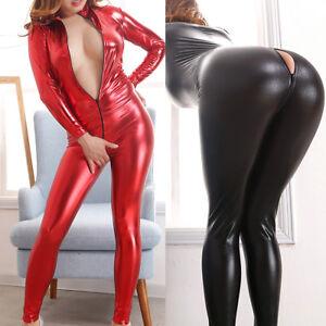 95d5797fd460 Image is loading Women-PVC-Faux-Leather-Bodysuit-Zipper-Crotch-Jumpsuit-