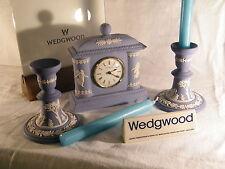 "Wedgwood "" Jasper Ware "" Dancing Hours Clock & matching Candlesticks + Candles !"
