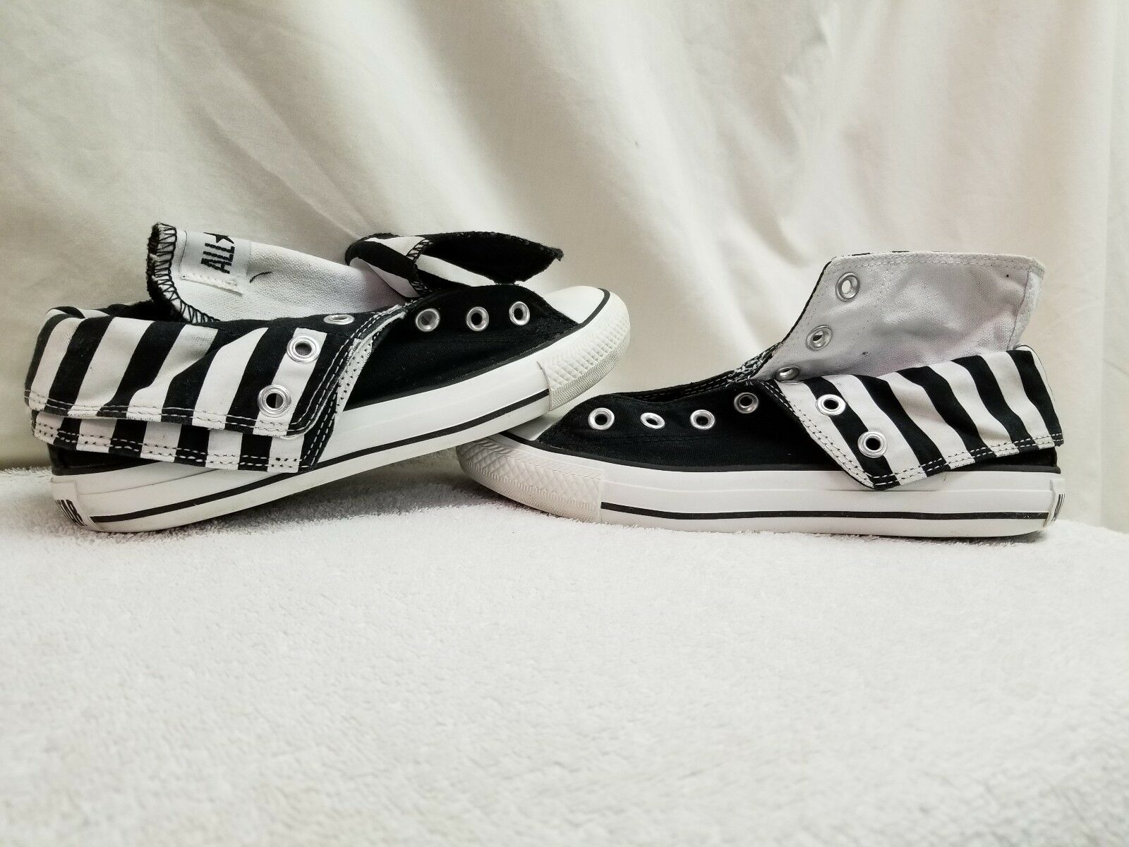 CONVERSE ALL FOLD STAR BLACK SIZE 7 FOLD ALL DOWN DOUBLE TONGUE HIGH TOP BLACK & WHITE... 479505
