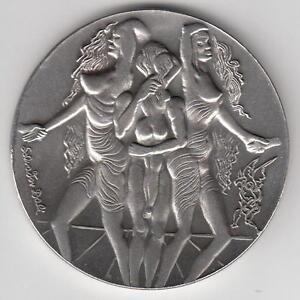 Israel-1978-Salvador-Dali-034-Peace-034-Private-Medal-100g-Pure-Silver-59mm-COA