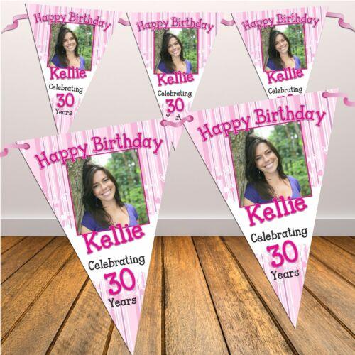 Personnalisé Happy Birthday Party drapeau bannière Bunting N24 18th 21st 30th tout âge