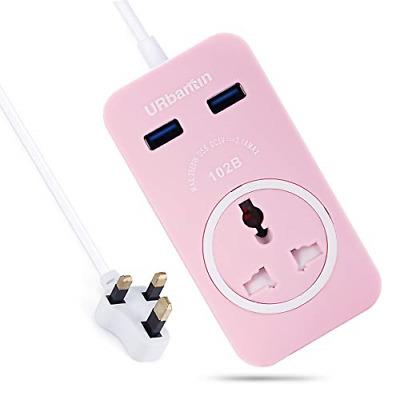 1.8 Metre Power Strip with 2 USB Socket Plug URbantin 1 Gang Extension Lead
