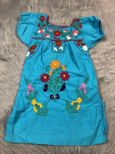 Toddler Girls Blue Multicolored Handmade Mexican F