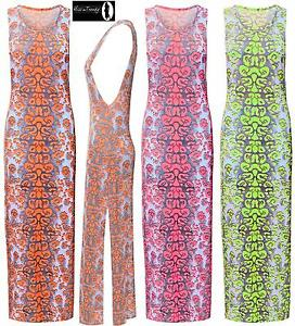 8ded2535830d Image is loading New-Womens-Ladies-Florescent-Leopard-Print-Side-Split-