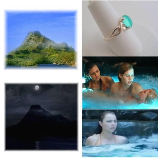 H2O Aqua Blue Mako Island Mermaid Moon Pool Sterling Silver Ring All Sizes