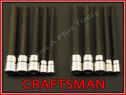 CRAFTSMAN 10pc 1//4 3//8 SAE /& METRIC MM Long Hex Allen bit ratchet socket set