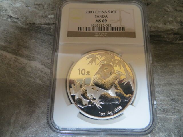 China 2007 1 Oz 999 Silver Panda 10 Yuan Coin NGC MS69 GEM BU+