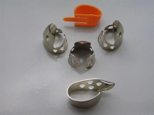 """Dunlop 5 PC .0225/"""" Fingerpick Set W//Fred Kelly MED Speed Pick DOBRO,BANJO ETC"""