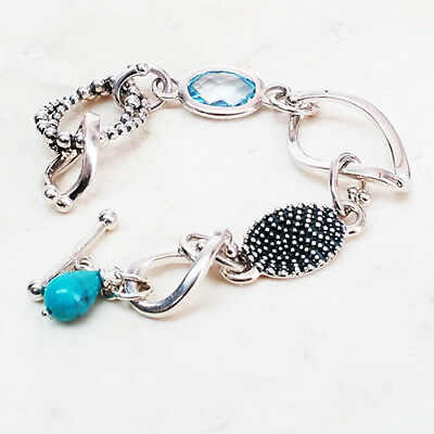 STERLING SILVER POLISHED STATION TURQUOISE-COLOR LEATHER LARGE BRACELET QVC