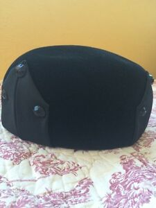 Vintage-Ladies-Jan-Leslie-Black-Velvet-amp-Silk-Satin-Pillbox-Hat-039-50-039-s-60-039-s