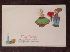 A Happy New Year - Dutch Children w/ Flowers, Clog Next To Candle