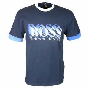 Hugo-BOSS-twell-1-Cotone-Logo-Stampato-Navy-T-shirt