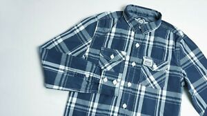 Superdry-Casual-Shirt-men-Long-Sleeve-top-size-S-Small-Slim-navy-blue-WASHBASKET