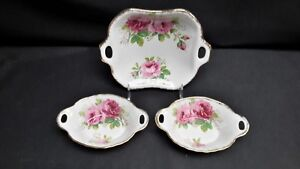 Royal-Albert-England-American-Beauty-Pair-of-Sweet-Meat-Dishes-amp-A-Bon-Bon-Dish