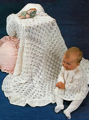 """Baby's Shawl and Angel Top Knitting Pattern 18"""" chest 4ply  856"""