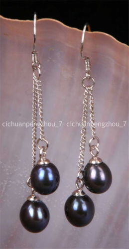 6-7 mm Black Akoya Freshwater Pearl Drop Dangle Argent Crochet Boucles D/'oreilles Jolie