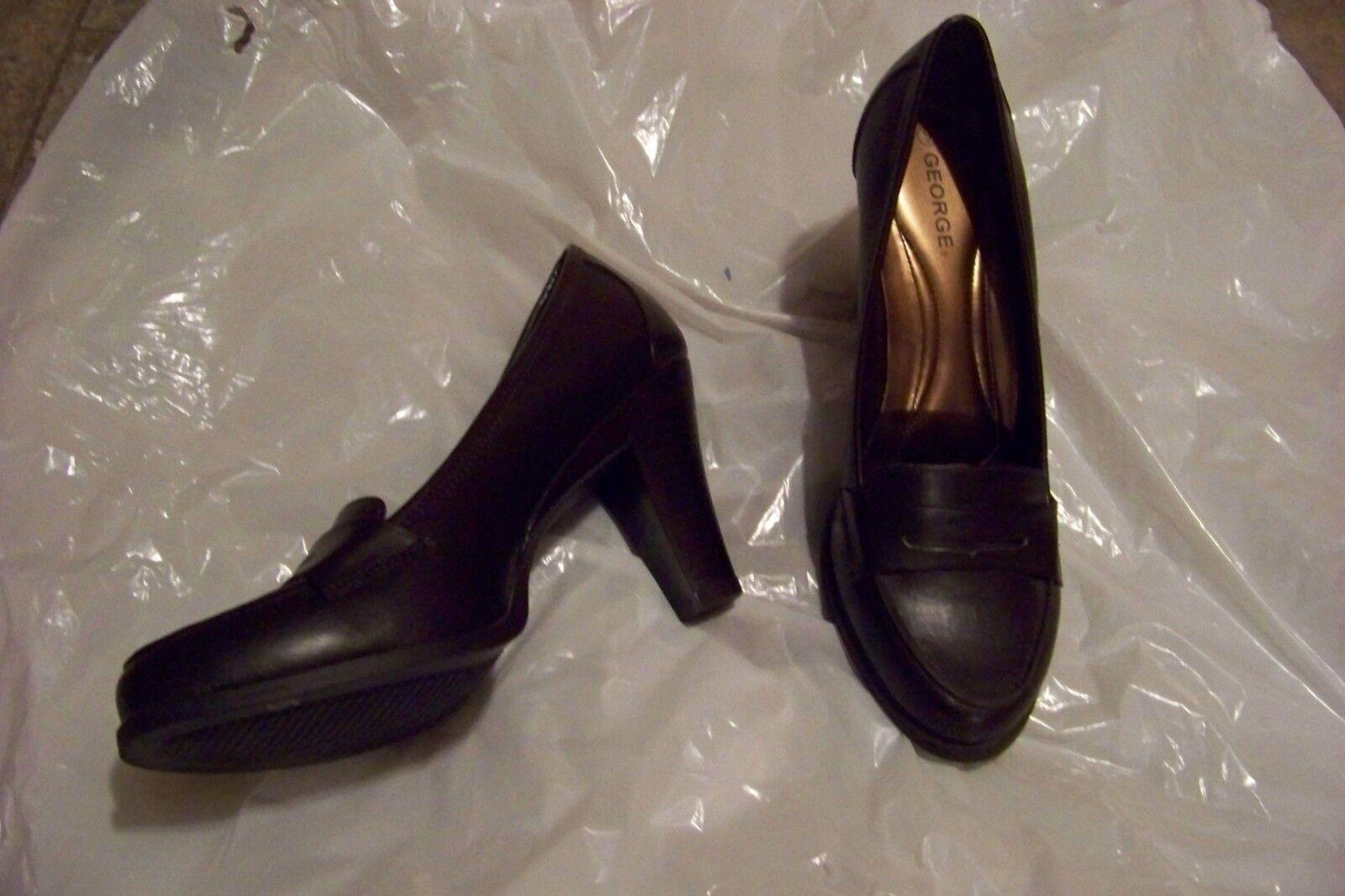 womens simply george zoe heels brown mod penny loafer heels zoe shoes size 9 989944