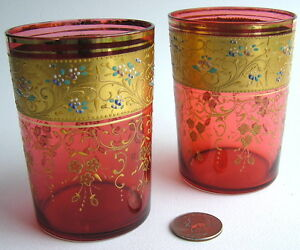 Pair of Bohemian / Czech Cranberry Glass Tumblers Raised Enameling Enamel Gold