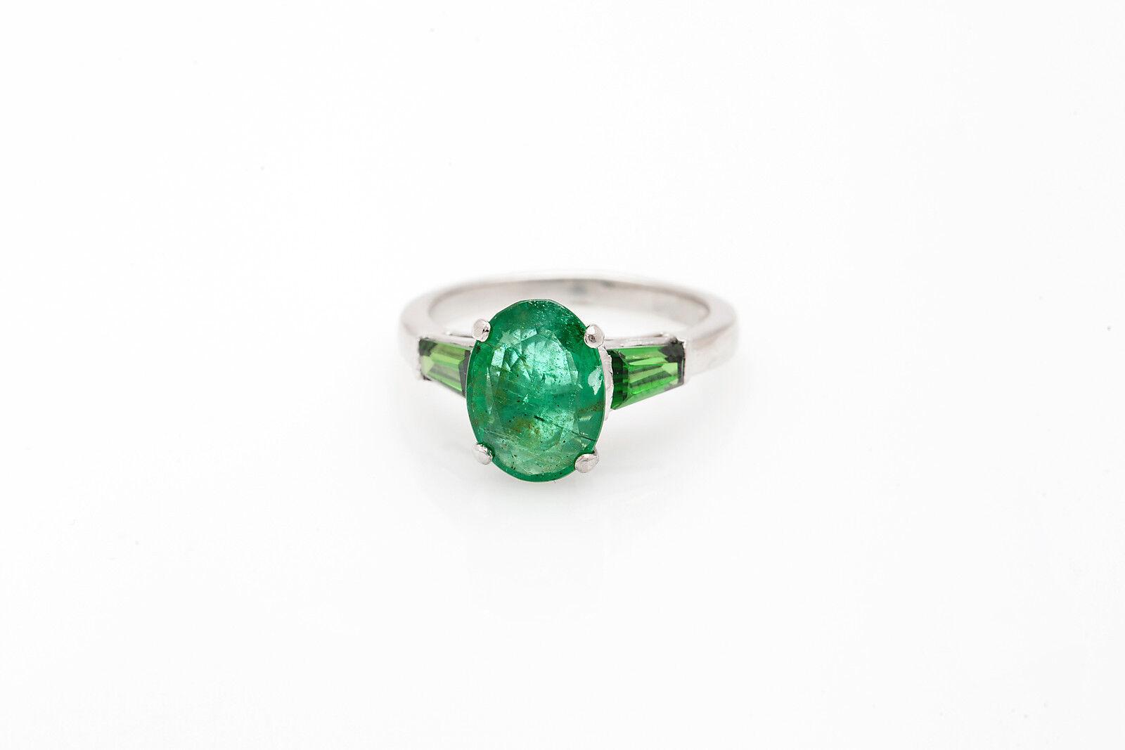 Vintage  6000 3ct Colombian Emerald Platinum Wedding Ring HEAVY
