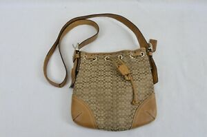 Coach-Bag-Small-Bucket-Leather-Tan-Brown-With-Drawstring-Shoulder-Strap