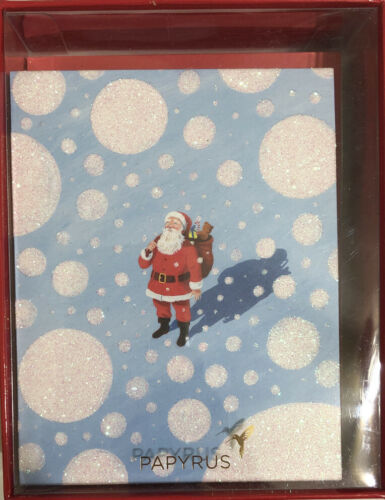Papyrus Holiday Note Greeting Cards 20 Cards With Envelopes Santa Snow Glitter