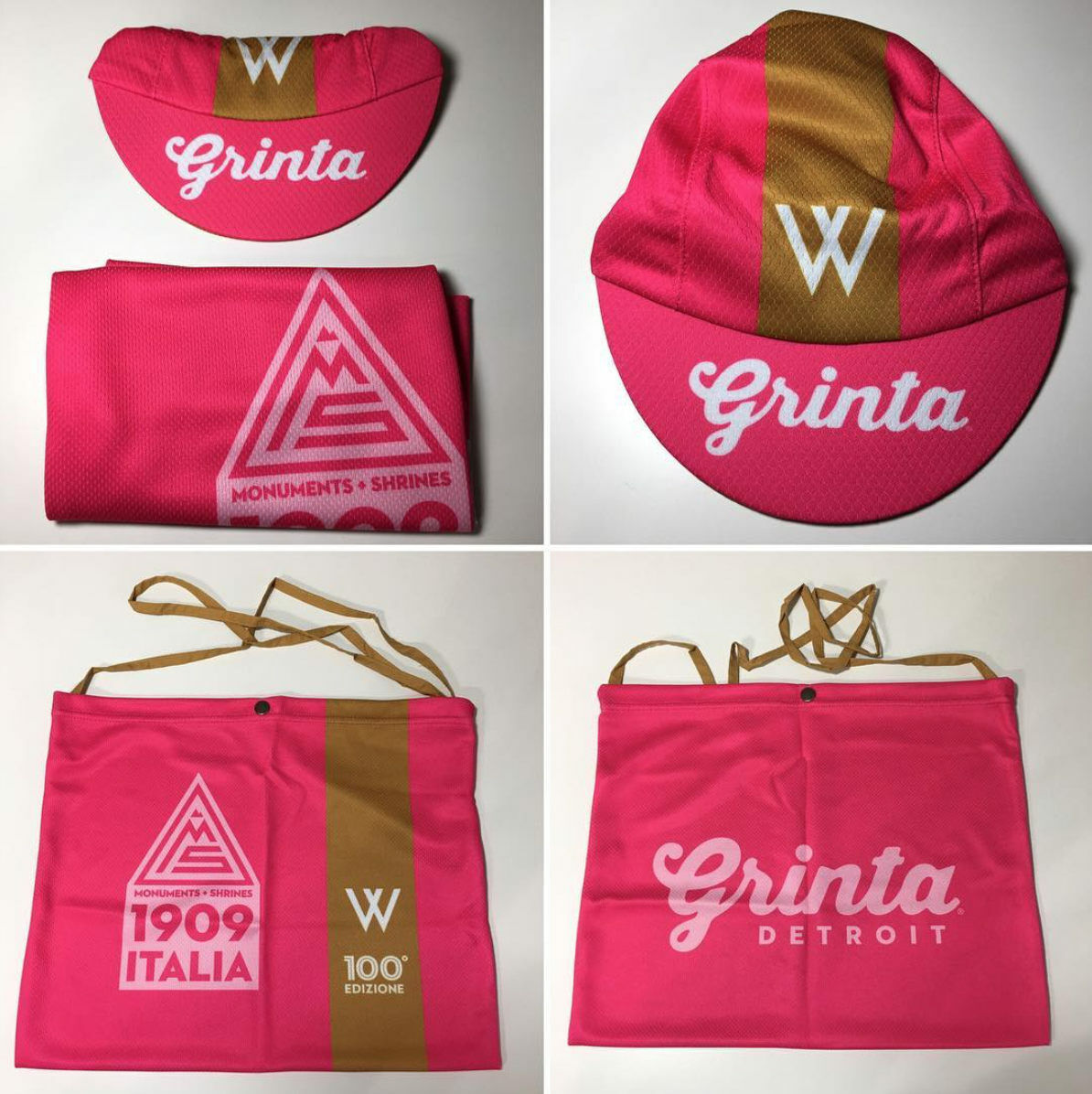 Grinta Cycling 100th Edition  Giro d'Italia Maglia pink Pink Cap & Musette Set  discount low price