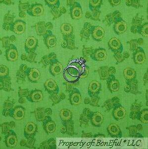 Boneful Fabric Fq Cotton Quilt Green Farm Tractor Calico John Deere