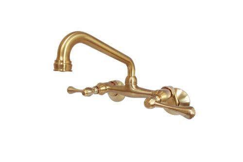 Satin Brass Kingston Brass KS313SB Wall Mount Kitchen Faucet