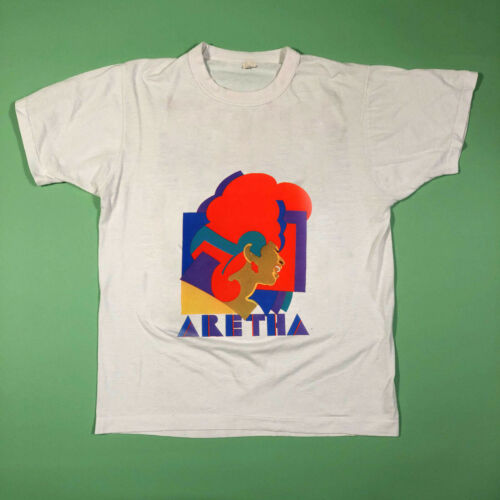 GILDAN t shirt REPRINT vtg 1980/'s Aretha Franklin White Promo Rap USA Size S-3XL