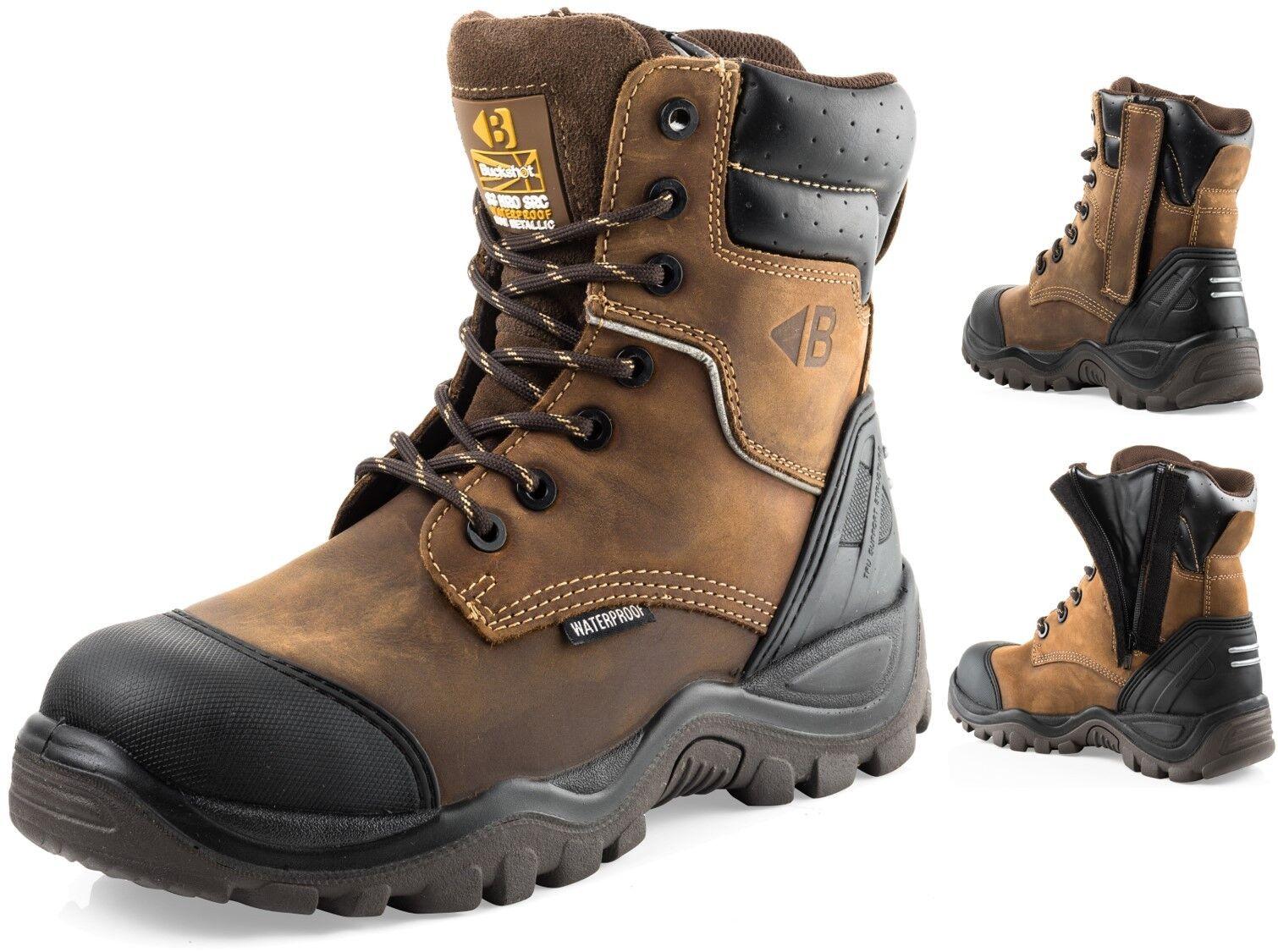 Buckler Buckshot BSH008WPNM HRO Brown Leather Waterproof Lace Zip safety boot CG