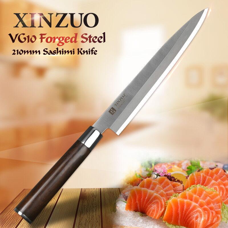 Sashimi Knife Carving Sushi VG10 Steel Wood Handle Salmon Nigiri 210mm Slicing L