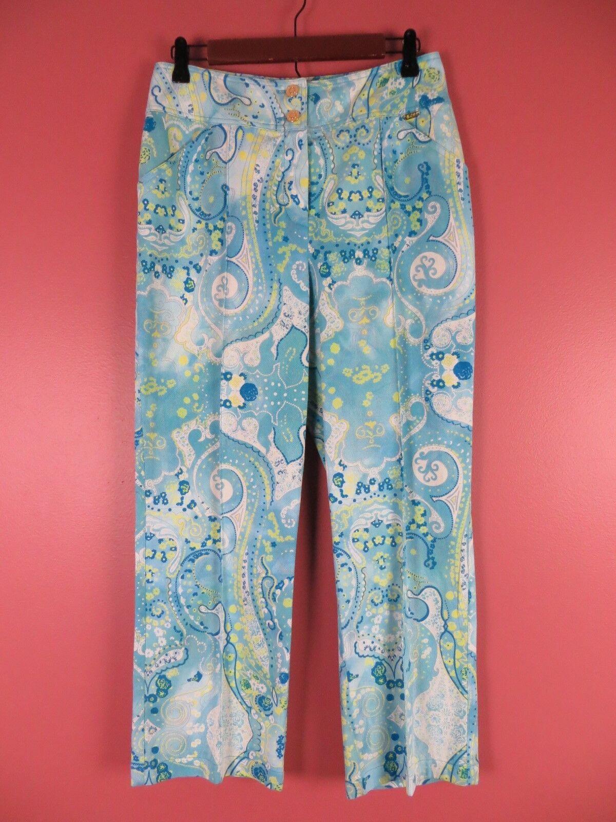 PNS0830-ST. JOHN SPORT Woman Cotton Blend Dress Pants Multi-color Geo Sz 10 MINT