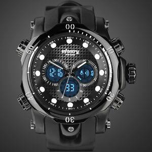 INFANTRY-Mens-Digital-Quartz-Wrist-Watch-Sport-Military-Army-Black-Rubber