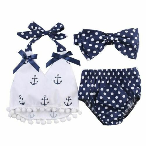 3pcs Baby Girl Clothes Anchor Tops+Navy Polka Dots Briefs Outfits Set Sunsuit Ou