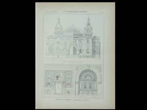 Le Treport, Casino - 1897 - Planche Architecture - Fivaz