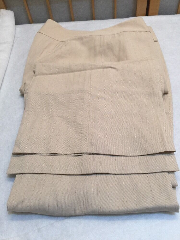 Ann Taylor Beige Lined Striped Linen Blend Dress Pants Womens Size 4