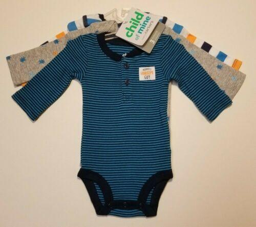 Carters Child of Mine Baby Boys Bodysuits 3 Pack Preemie Newborn Long Sleeve NWT