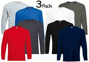 3-Pack-Men-039-s-Fruit-of-the-Loom-Long-Sleeve-T-Shirt-Plain-Tee-Shirt-Top-Cotton