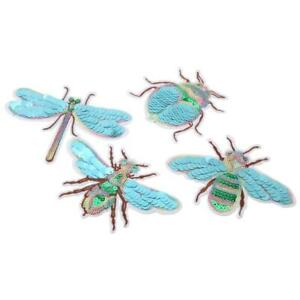 4x Bee Dragonfly Sequins Patches Embroidered Sew on Fabric Applique Badge