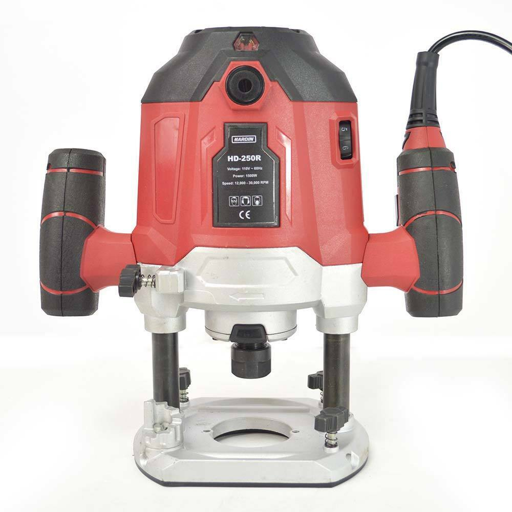 Hardin HD-250R 3-1 4 HP Fixed Base Single Speed Plunge Router - 21,000 RPM Speed