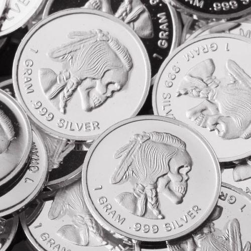 "1 Gram .999 Fine Solid Silver Bullion Art-Round//Minicoin /""  INDIAN SKULL /"" New"