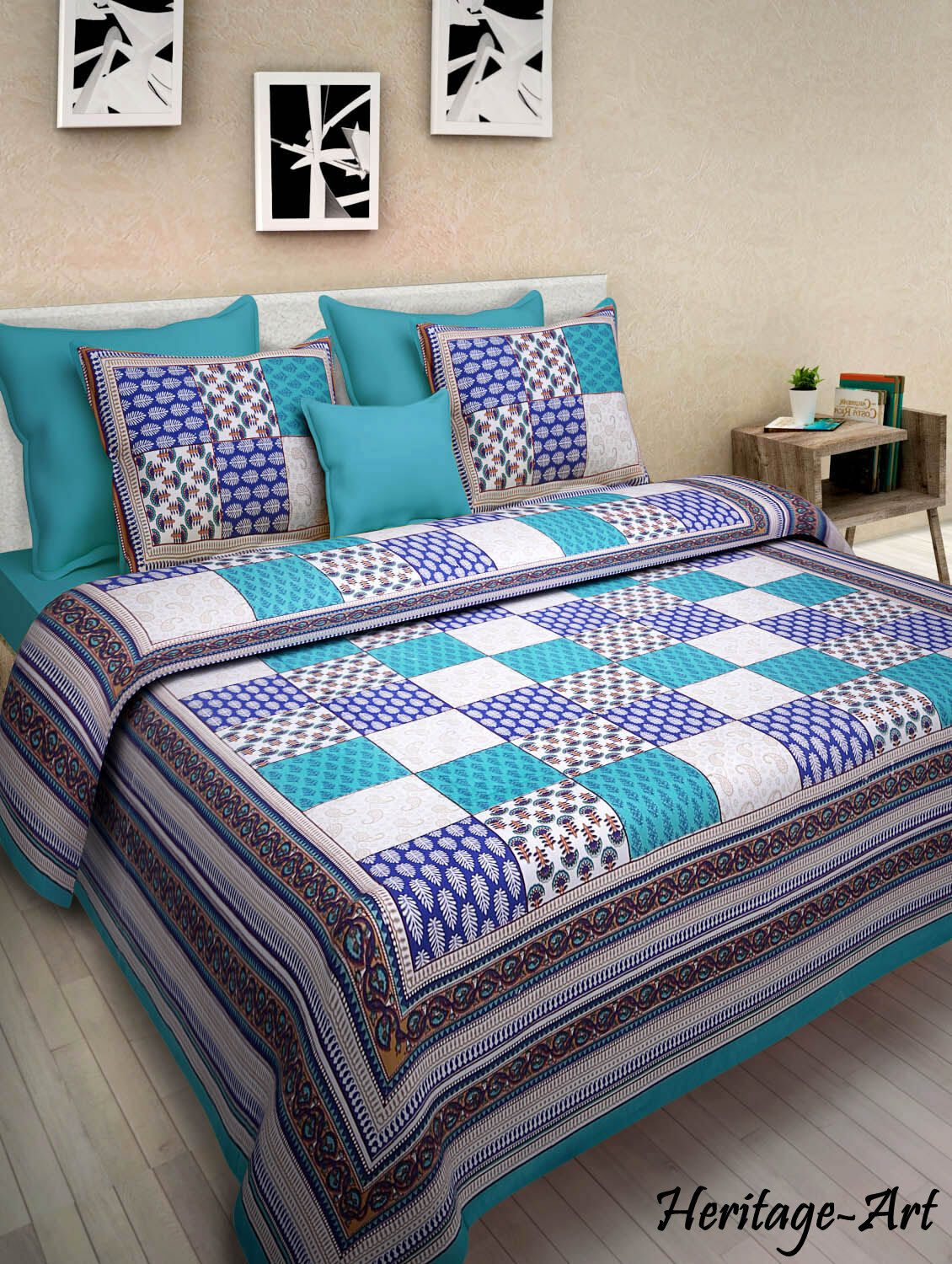 Indian Rajasthani Handmade Floral Design King Bed Sheet With Two Pillow Covers
