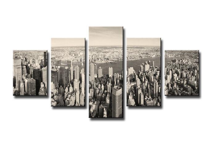 Tableau Déco Paysage Ville New York 5 partie Image sur toile 160 x 80 cm