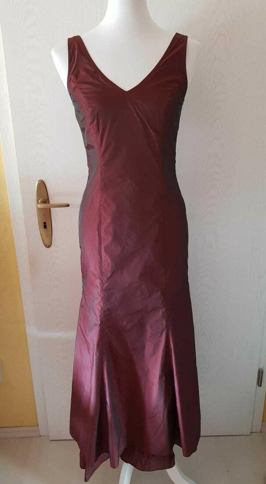 Kleid dunkelrot weinrot lang abendkleid festkleid größe 34 neu meerjungfrau